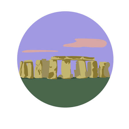 Stonehenge vector icon sign. Prehistoric monument located in Wiltshire, England. World famous landmark Ring of standing stones vector flat design. Website, application button. Postcard, stamp, card Stock Vector - 85851047