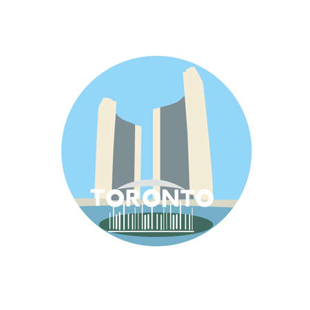 Toronto city hall vector icon sign. New city hall located in Toronto, Ontario, Canada. World famous landmark. Vector flat style design. Website, application button. Postcard, Postage Stamp, card Illustration