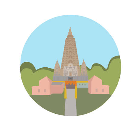 Mahabodhi Vihar Temple vector icon sign. Buddhist religious temple in Bodh Gaya. World famous landmark UNESCO World Heritage Site. vector flat design. Website application button. Postcard, stamp, card