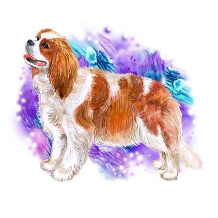 Acuarela retrato de portarretrato de Cavalier king charles spaniel perro de raza aislado en fondo colorido abstracto. Perro de juguete de Reino Unido. Dibujado a mano dulce hogar de mascotas. Diseño de tarjetas de felicitación. Clipart Foto de archivo