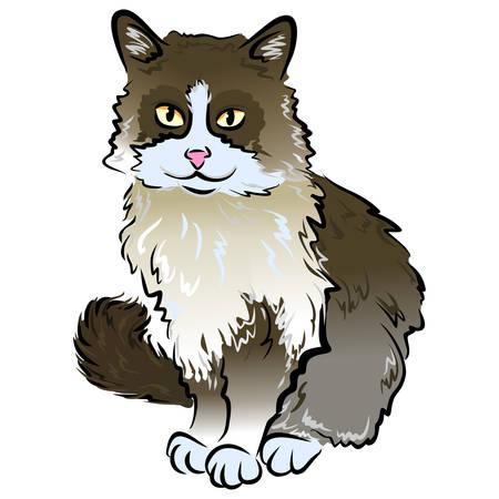 벡터 흰색 배경에 고립 된 귀여운 앉아 tricolor 고양이의 초상화를 닫습니다. 손으로 그린 달콤한 집 애완 동물입니다. 인사말 생일 카드 디자인입니다.