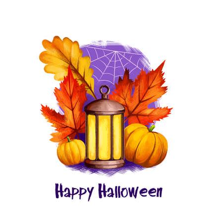 Lantaarn lamp, herfst val esdoorn eiken bladeren en twee gele pompoenen, poster met tekst, spinneweb of spinnenweb op de achtergrond van de nachtelijke hemel. Happy Halloween digitale poster geïsoleerd op een witte achtergrond. Stockfoto