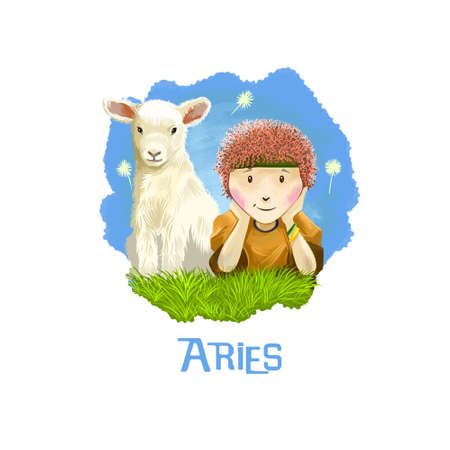 ascendant: Aries horoscope sign with children digital art illustration isolated on white. Little boy and young cow sitting on the meadow on background of blue sky, horned pet animal sign for prints design