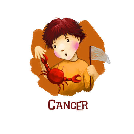 Cancer horoscope sign with children digital art illustration isolated on white. Red lobster catches boy hand, kid fishing om marine seafood creatures web print design with text, crayfish animal