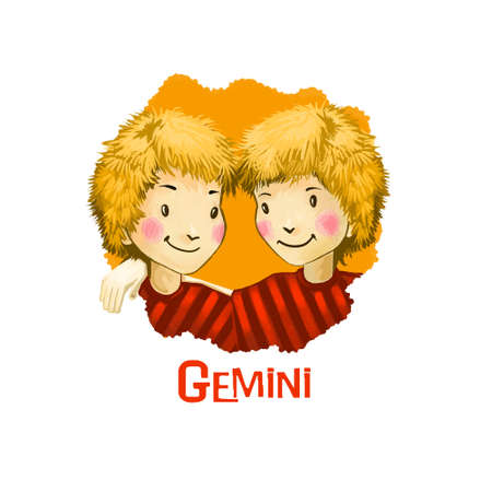 ascendant: Gemini horoscope sign with children digital art illustration isolated on white. Two twin blonde boys or girls looking at each other, similar identical people web print t-shirt design poster with kids