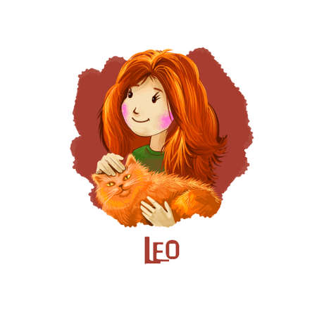 Leo horoscope sign with children digital art illustration isolated on white. Redhead young girl holding fluffy cat in hands, pussy kitten with pretty lady web print t-shirt design poster with kid