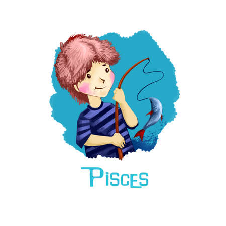 Pisces horoscope sign with children digital art illustration isolated on white. Young boy catching fish on bank of river, funny kid with fish-rod web print t-shirt design poster with kids Imagens