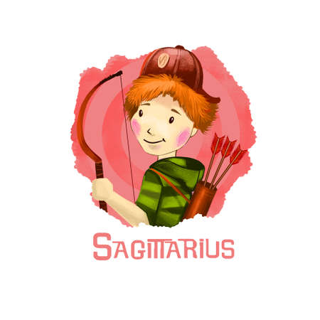 Sagittarius horoscope sign with children digital art illustration isolated on white. Young boy or girl in hat with bow and arrows, shooting little youngster web print t-shirt design poster with kids