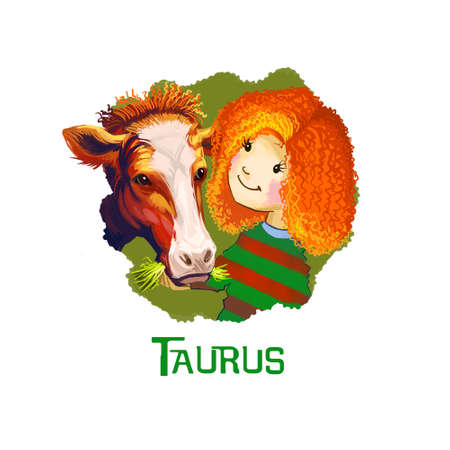 ascendant: Taurus horoscope sign with children digital art illustration isolated on white. Little redhead girl playing with cow, youngster feeding young beef with straw web print t-shirt design poster with kids