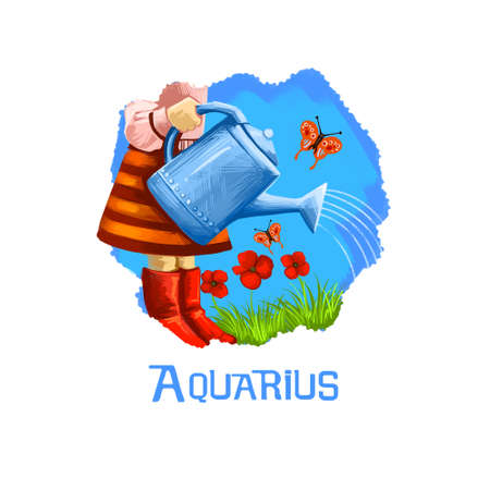 Aquarius horoscope sign with children digital art illustration isolated on white. Little girl pouring plants on meadow, butterfly flies on background of blue sky, watering flowers and grass by kid Stock Photo