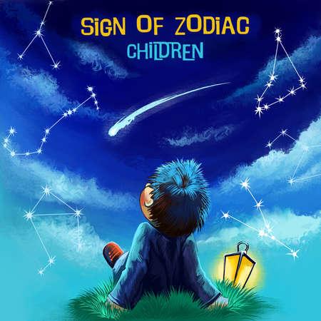 Zodiac Signs horoscope sign with children digital art illustration isolated on white Stock Illustration - 87803952