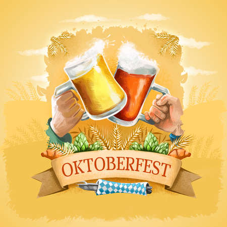 Oktoberfest promotional poster, advertising banner. Famous German annual beer festival held in Bavaria, Germany. Digital art illustration of beer glasses. Octoberfest greeting card graphic design Stok Fotoğraf