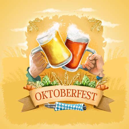 Oktoberfest promotional poster, advertising banner. Famous German annual beer festival held in Bavaria, Germany. Digital art illustration of beer glasses. Octoberfest greeting card graphic design Stock Photo