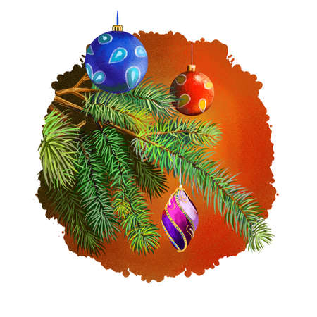 digital art illustration of christmas decorations hanging on christmas tree branch isolated on white merry - Christmas Digital Decorations