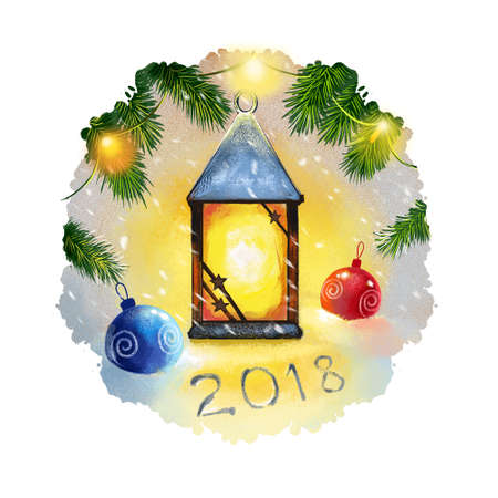 digital art illustration of christmas lantern and christmas decorations hanging on christmas tree branch merry - Christmas Digital Decorations