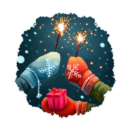 Digital art illustration of hands in mittens holding sparklers, gift box present. Merry Christmas, Happy New Year greeting card design. Winter nature, snowing background. Graphic design for web, print