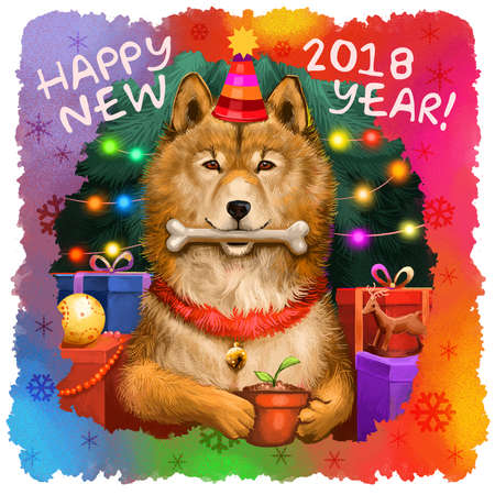 Digital art illustration of cute dog in holiday hat and bone in mouth. 2018 Year of Dog by Chinese Horoscope. Merry Christmas, Happy New Year greeting card design. Graphic clip art for web, print Stock Photo