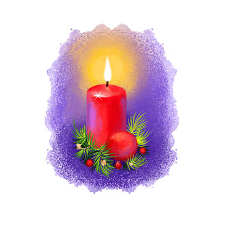 Digital art illustration of burning christmas candle with New Year decorations isolated on white. Merry Christmas and Happy New Year greeting card design. Graphic clip art design for web, print