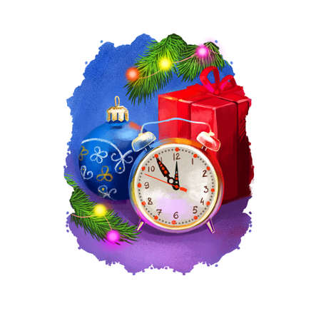 Digital art illustration of alarm clock showing time around midnight, countdown before New Year begins. Merry Christmas and Happy New Year greeting card design. Graphic clip art design for web, print