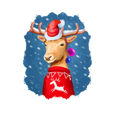 Digital art illustration of christmas deer in Santas hat and red winter sweater. Rudolph reineer. Merry Christmas and Happy New Year greeting card design. Graphic clip art design for web, print