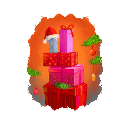 Digital art illustration of christmas gift boxes set under christmas tree with Santas hat on top. Merry Christmas and Happy New Year greeting card design. Graphic clip art design for web, print