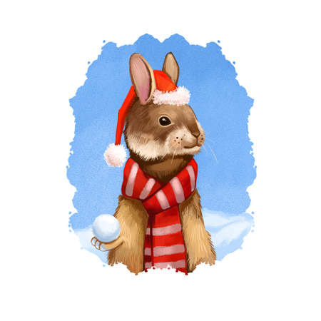 Digital art illustration of hare in Santas hat and warm red scarf. Merry Christmas and Happy New Year greeting card design. Cute funny animal, Santas helper. Graphic clip art design for web, print