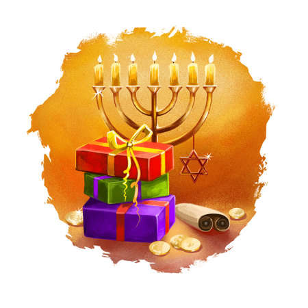 Happy Hannukah, Chanukah digital art illustration. Religious Jewish holiday commemorating the rededication of the Holy Temple in Jerusalem. Hebrew national celebration. Graphic clip art for web, print