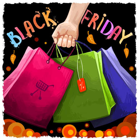 Black friday sale digital art illustration. November 25 annual shopping tradition. Famous holiday shopping day commercial banner. Advertising poster for web, print, design. Hand drawn graphic clip art