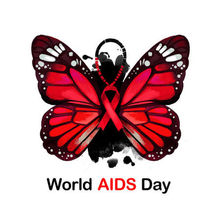 World AIDS day digital art illustration for web, print, design. Global public health campaign held annually on 1st of December, dedicated to raising awareness of AIDS pandemic caused by HIV infection