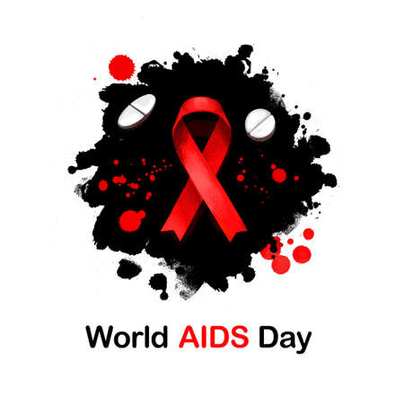 World AIDS day digital art illustration for web, print, design. Red ribbon symbol. Global public health annual campaign held on 1st of December, dedicated to AIDS pandemic caused by HIV infection Stock Photo