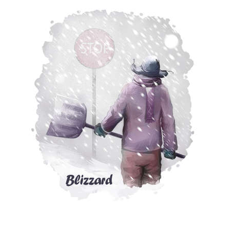 Blizzard digital art illustration of natural disaster. Man in warm cloth with spade in hands going to fight snowstorm, snowdrift poster with magic snowflakes and frozen person, winter weather