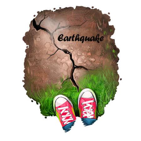 Aardbeving digitale kunstillustratie van natuurramp. Man schoenen staan op gebarsten grond, beschadigde weg door aardbeving, seismische vernietiging van land, aardverschuivingsconcept, omgevingsamplitude