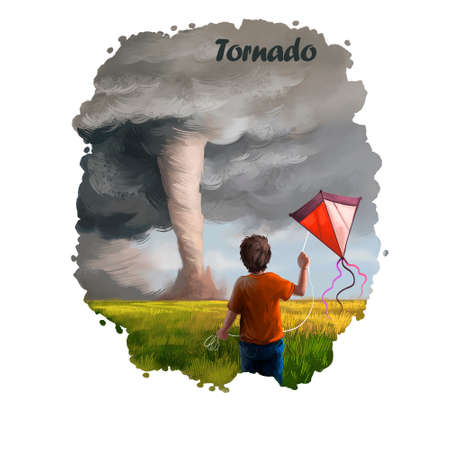 Tornado digital art illustration of natural disaster. Whirlwind ruins everything, boy with kit back view, crash caused by typhoon, hurricane in sky, storm twister, dramatic event strong wind