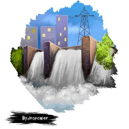 Ilustración de arte digital de hidroelectricidad aislado en blanco. Construcción de presas, fuentes alternativas de energía, estación de energía ambiental limpia, barrera detiene o restringe el flujo de agua o corrientes subterráneas