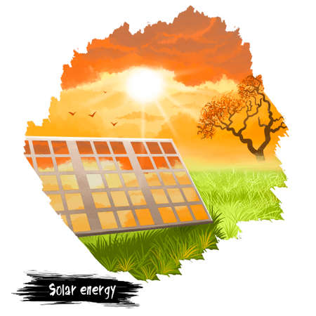 Solar energy digital art illustration isolated on white. Electrical batteries producing alternative energy from sun, save the Earth conceptual poster. Ecology clean renewable source of electricity Stock Photo