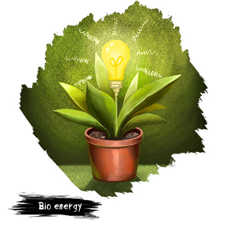 Bio energy digital art illustration isolated on white. Green plant with pot and electric bulb except of flower poster in save the earth concept. Eco friendly power from growing plant ecology Stock fotó