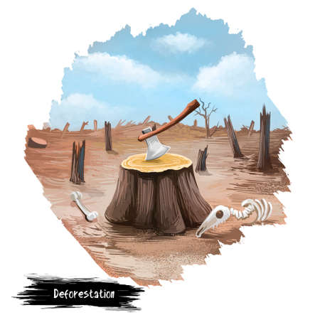 Ontbossing digitale kunstillustratie die op wit wordt geïsoleerd. Bijl in boomstronk, gestorven bos en skeletten van dieren op kale aarde. Het snijden van houtconcept bewaart aardaffiche, ecologisch probleem Stockfoto