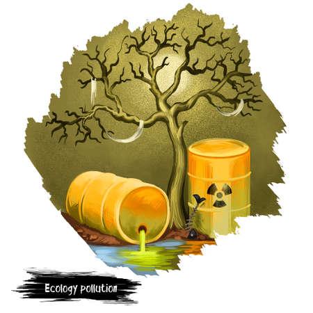 Ecology pollution digital art illustration isolated