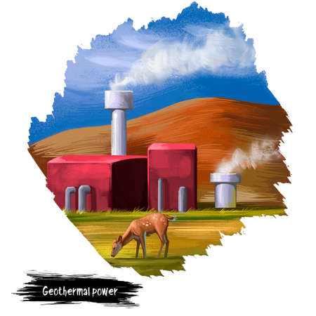 Geothermal power digital art illustration isolated on white. Eco friendly zone with deer and plant producing renewable energy from heart of Earth, save environment concept, alternative source of heat Stock Photo