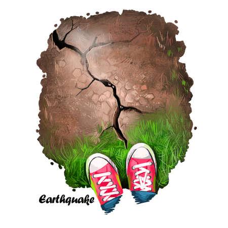 自然災害の地震デジタル アート イラスト。男の靴がひびの入った土壌、地震、地震の破壊の土地、地すべりの概念、環境振幅のため破損した道路の