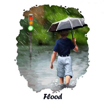 Illustratie van de vloed de digitale kunst van natuurramp. Zware regen en jongen met paraplu achtermening. Hoogwatertragedie, milieuprobleem, stop van verkeer, orkaan verpest de weg