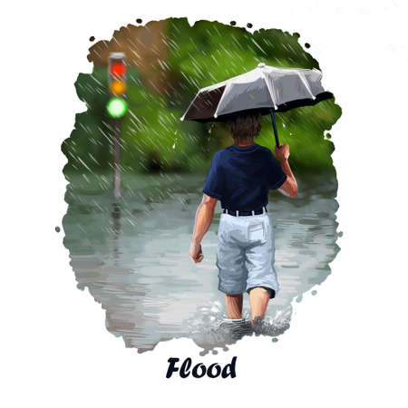 Flood digital art illustration of natural disaster. Heavy rain and boy with umbrella back view. High water tragedy, environmental problem, stop of traffic, hurricane ruined the road