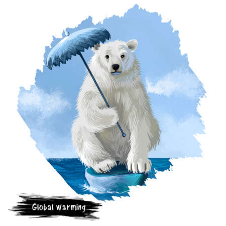 Global warming digital art illustration isolated on white. Polar bear sitting on last ice cliff with umbrella in hands, abstract metaphor poster in save Earth concept, ecological disaster