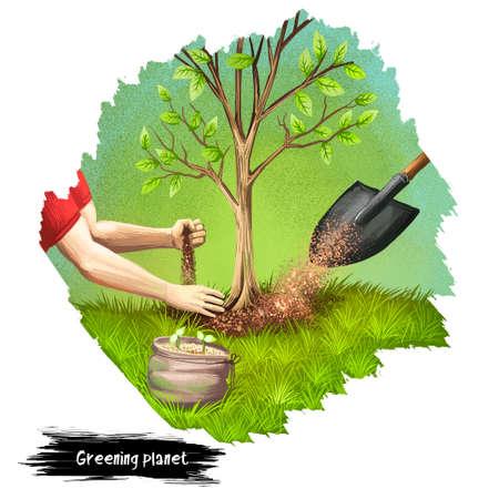 Verdissement illustration d'art numérique planète isolée sur blanc. Concept Save the Earth, plantation humaine de nouveaux arbres, protection de l'environnement, protection contre les catastrophes naturelles, solutions environnementales Banque d'images - 91007036