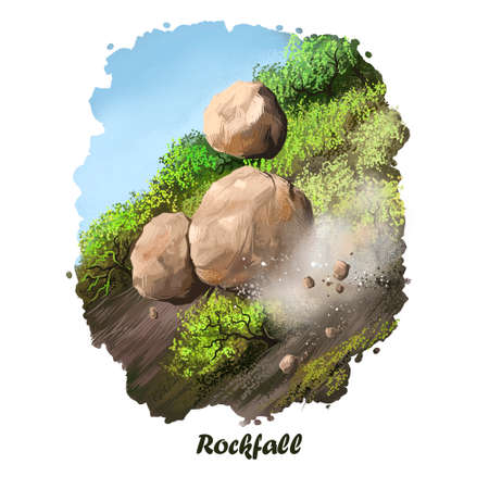 Rockfall digital art illustration of natural disaster. Falling down stones from mountain, blockage of road, rocks obstruction, landslide concept, extreme tumble, geology earthquake artwork picture