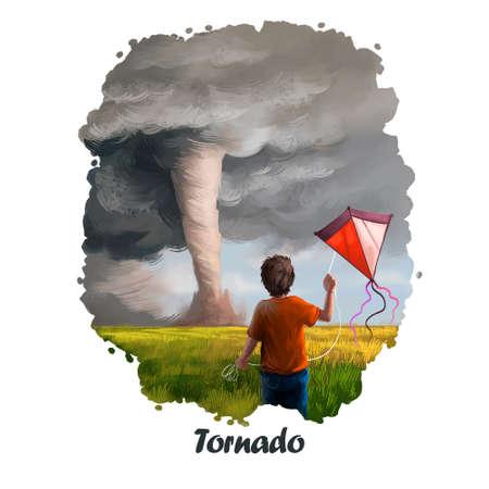 Digitale kunstillustratie van de tornado van natuurramp. Wervelwind ruïneert alles, jongen met achteraanzicht van uitrusting, crash veroorzaakt door tyfoon, orkaan in lucht, stormtwister, dramatische gebeurtenis sterke wind Stockfoto