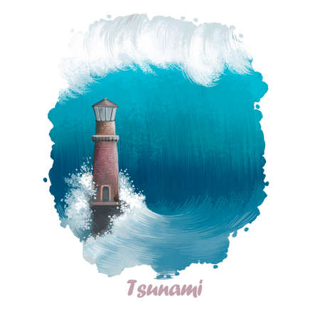 Tsunami digital art illustration of natural disaster. Lighthouse suffer from strong waves in sea or ocean. Damage caused by flood. Environmental problems concept. Dramatic catastrophe