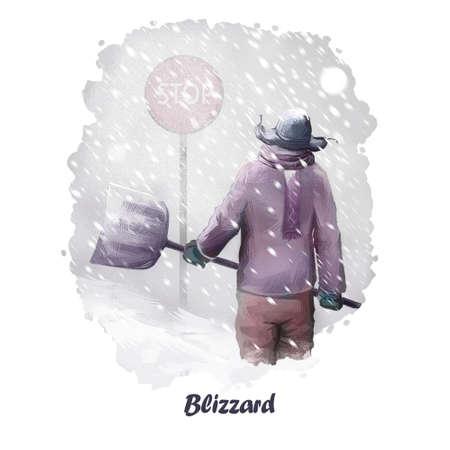 自然災害のブリザード デジタル アート イラスト。吹雪、吹きだまりポスターの魔法の雪と凍結人、冬の天候と戦うつもりの手鋤で暖かい布の男