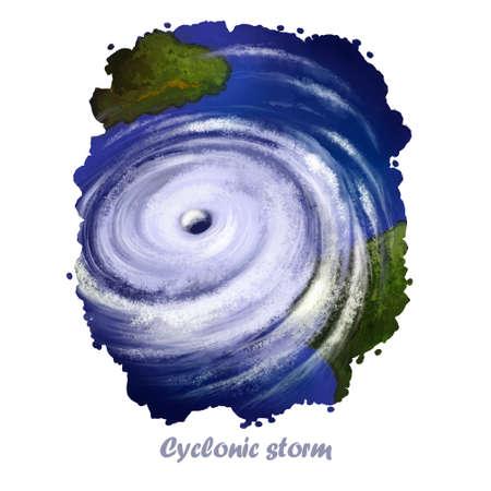 Cyclonic 폭풍 디지털 아트 자연 재해의 그림입니다. 극적인 토네이도가 강한 바람의 예술 작품. 폭풍우, 허리케인 재앙, 강력한 바람이 모든 것을 파괴합 스톡 콘텐츠