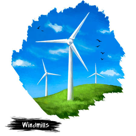 Windmills digital art illustration isolated on white. Mill that converts wind into rotational energy. Turbines with propeller, save Earth planet concept, eco friendly renewable sources of power